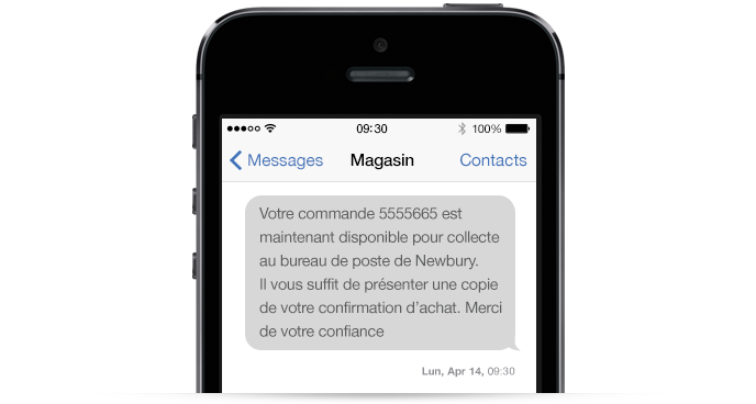 Un exemple d'une communication par SMS