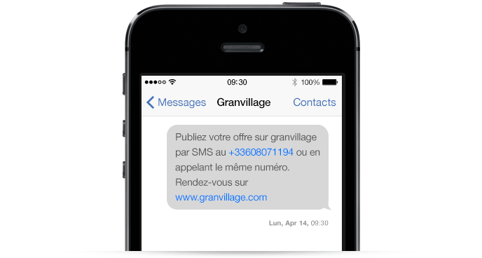 Un exemple de communication par SMS