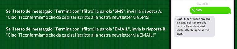 SMS automatici di risposta - esempio 1