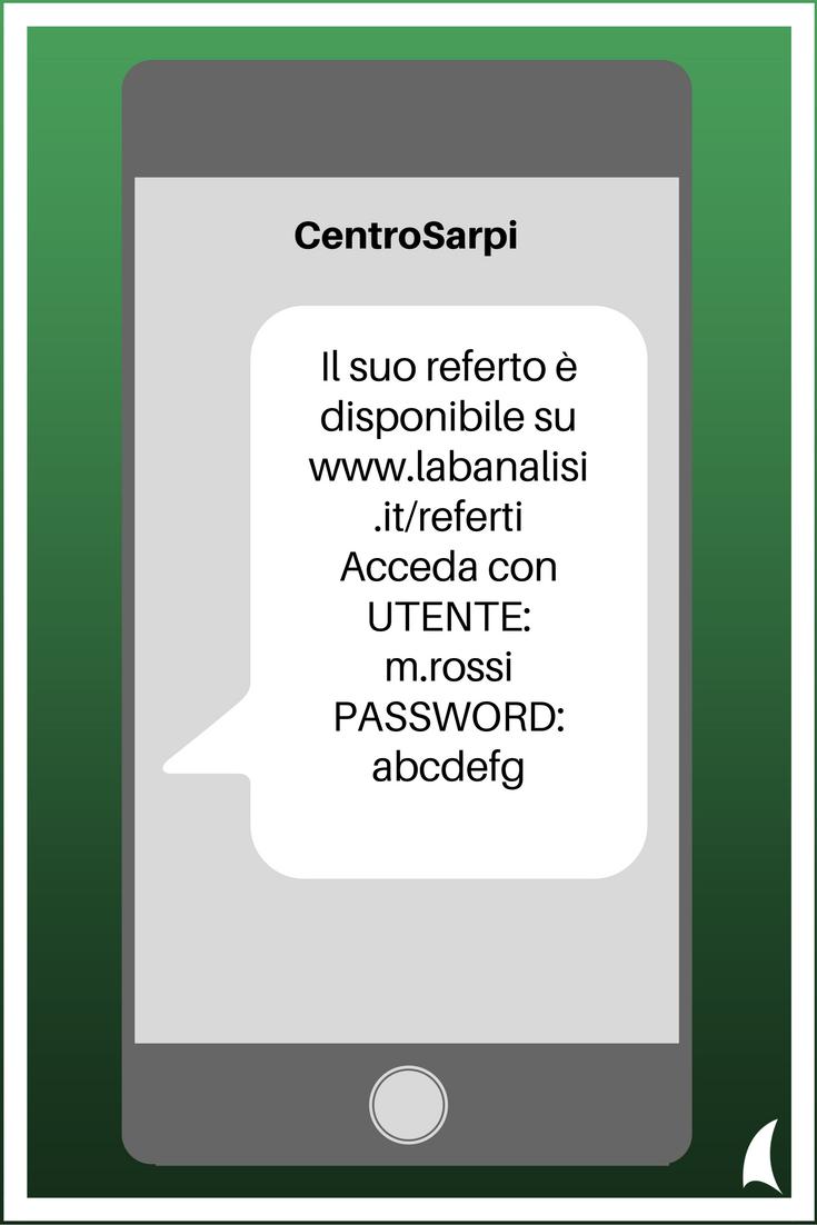 SMS transazionali per il business - Esempio Centro Analisi