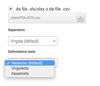 importare file csv - delimitatore