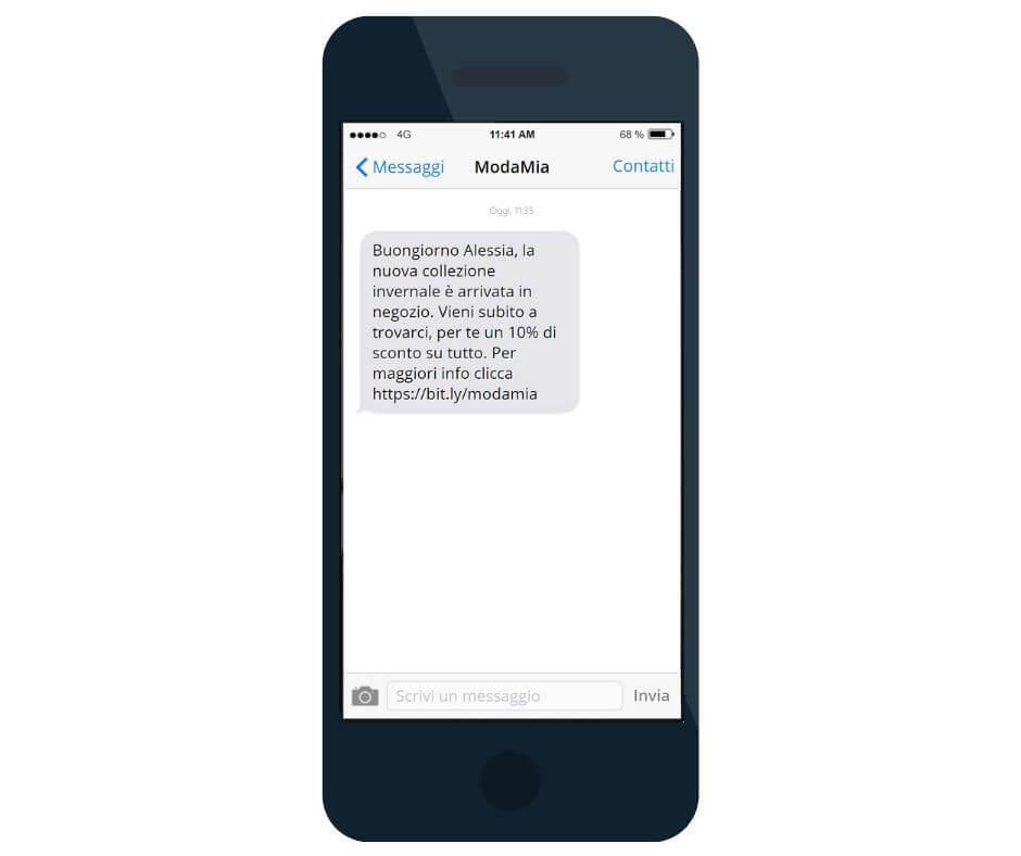 Inviare SMS ai clienti - formato sms