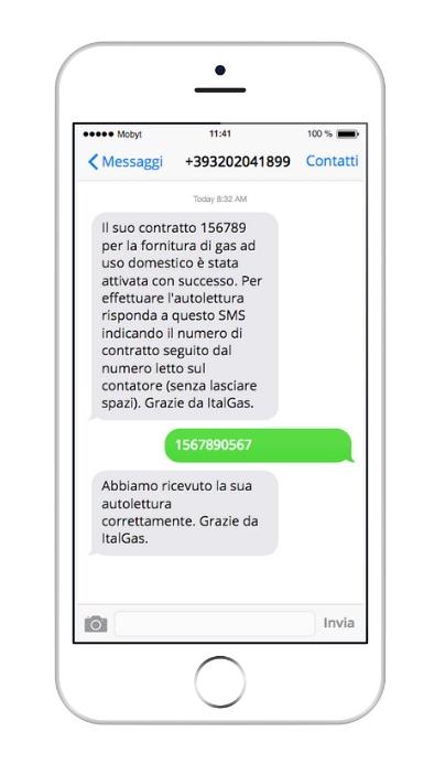 SMS per società di gas e luce - Esempio autolettura