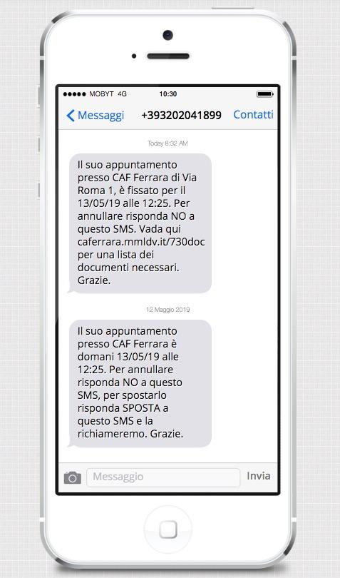 Strumenti di comunicazione e marketing per CAF - SMS prenotazione