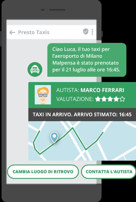 utilizzi dei messaggi rcs - prenotazione taxi