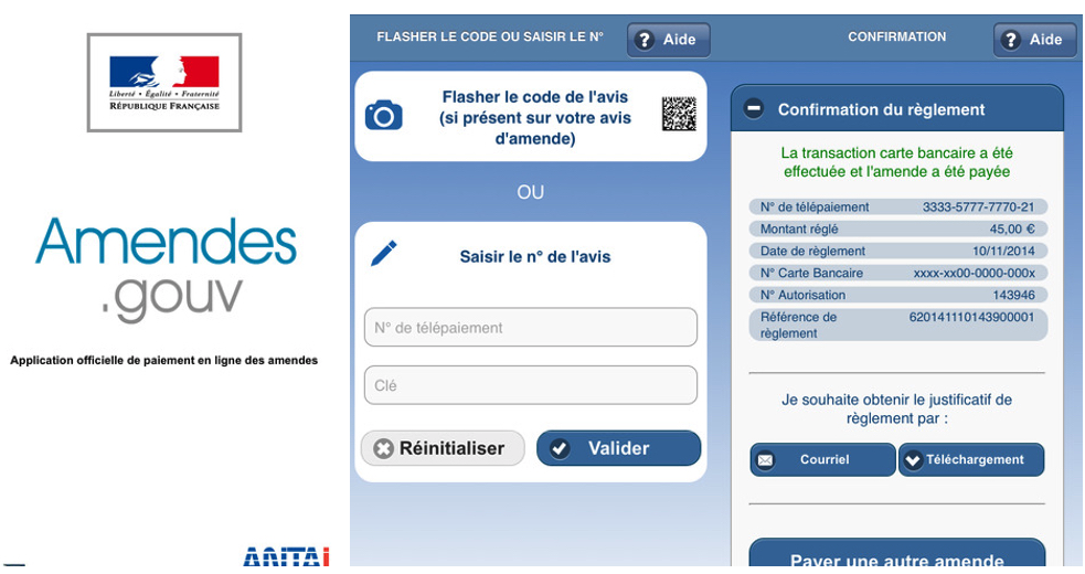 Application Smartphone Amendes.gouv.fr