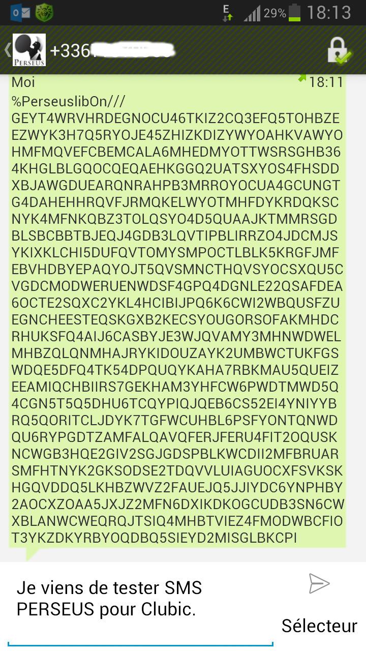 Envoi de SMS via PERSEUS