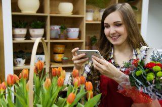 fleuriste et téléphone