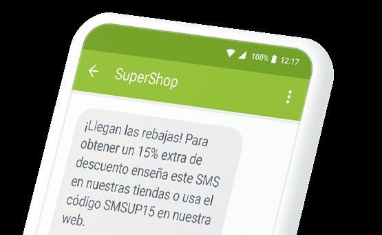 Ejemplo de SMS promocional con remitente de empresa