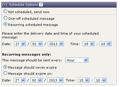 Screenshots of TextAnywhere platform showing different message scheduling options