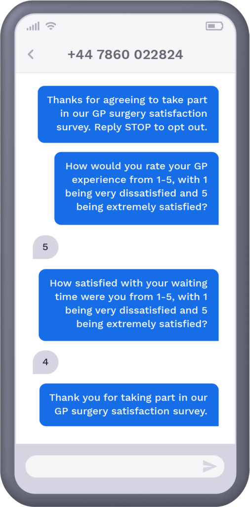 Phone showcasing SMS patient satisfaction survey from GP surgery