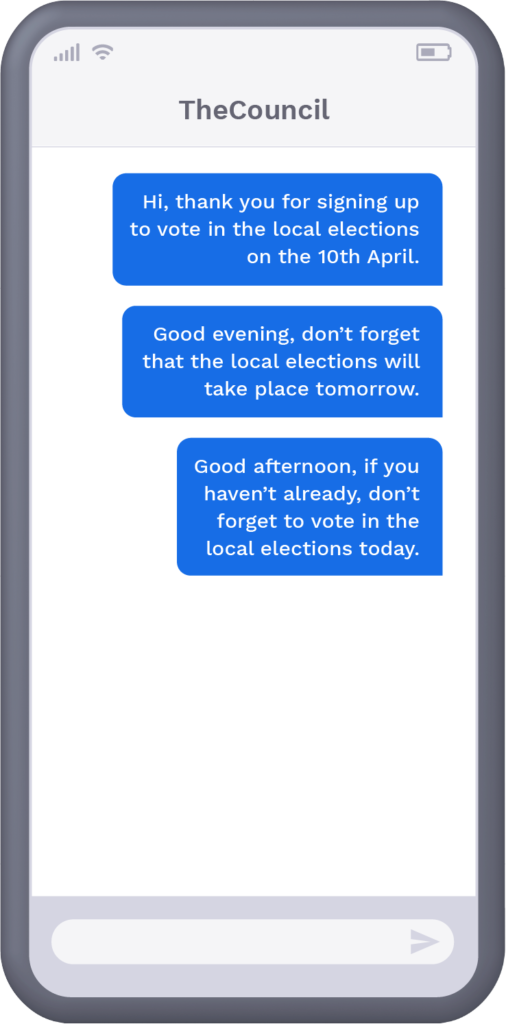 Phone with text message from council to resident reminding them to vote in local elections