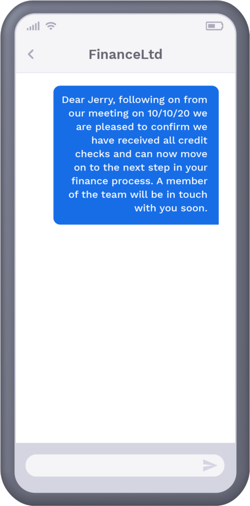 Phone with text message updating recipient on application