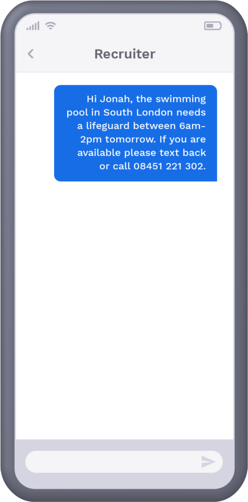 Phone with text message from leisure centre offering recipient a shift if they are available to work