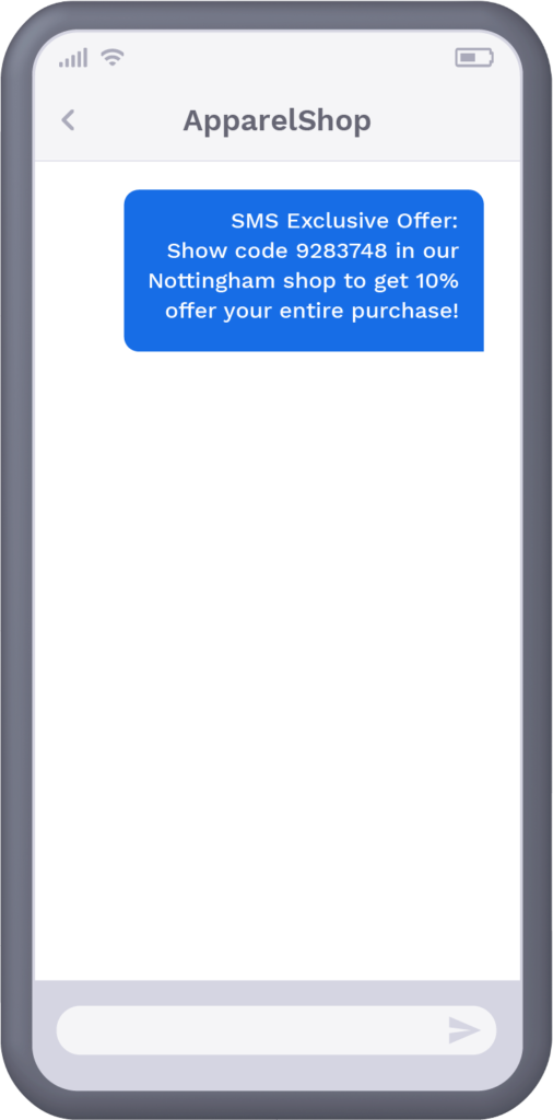 Phone with text message from retail shop offering recipient exclusive offer