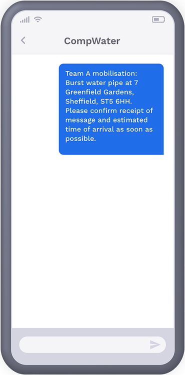 Phone showing text message from a company to engineer worker, mobilising their team into action to fix burst water pipe