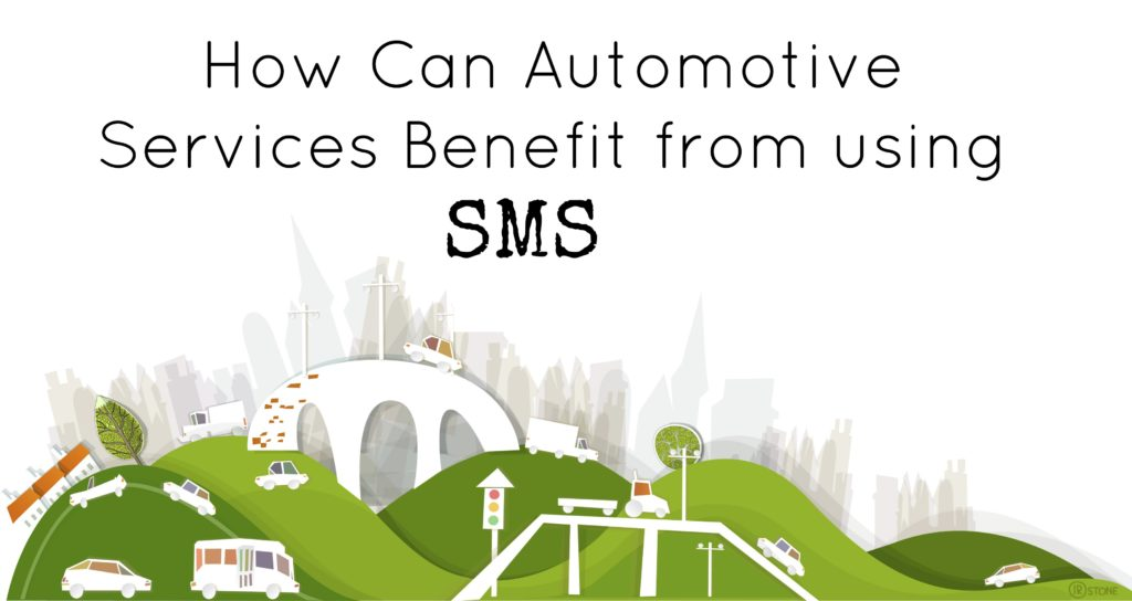 Illustrations of multiple cars with title how can Automotive service benefit from using SMS