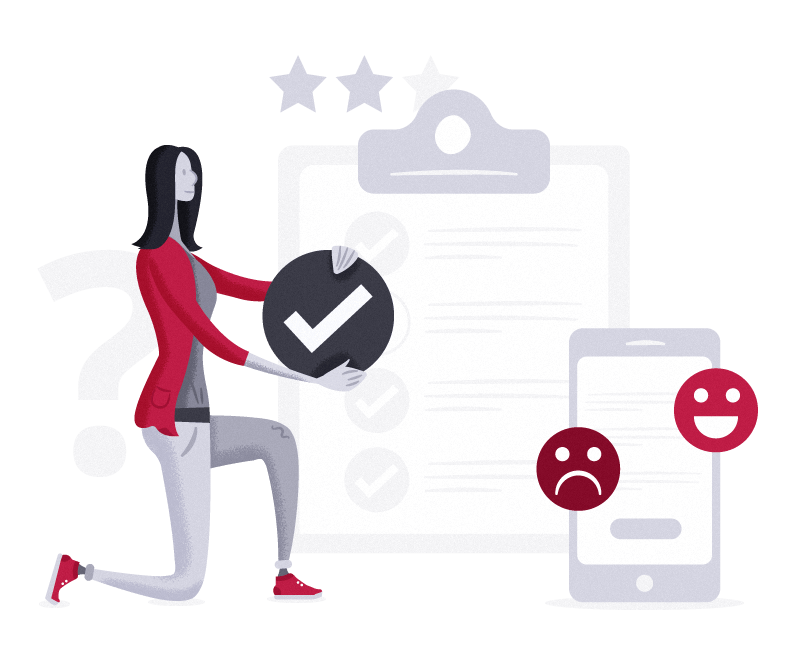 Illustration of lady holding tick  with clipboard and mobile in background showing happy and sad face to represent survey feedback