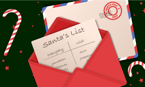 Envelope with Santa's naughty and nice list
