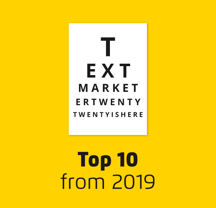 Eye test style poster with title top 10 from 2019
