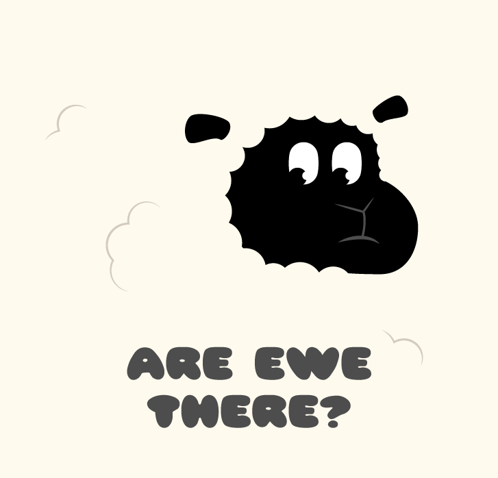 Picture of shy looking sheep saying are ewe there