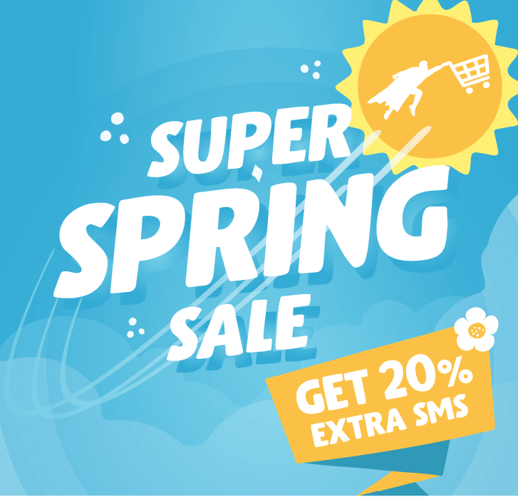 Super spring sale for Text Marketer featuring sun and superhero