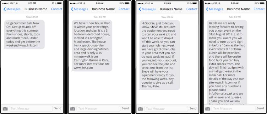 Different part messages