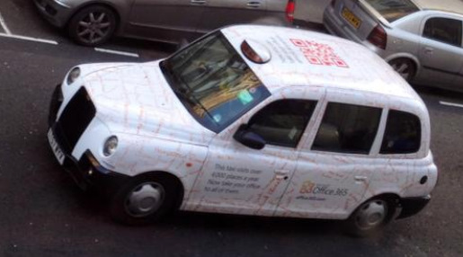 QR Code on the roof of a taxi