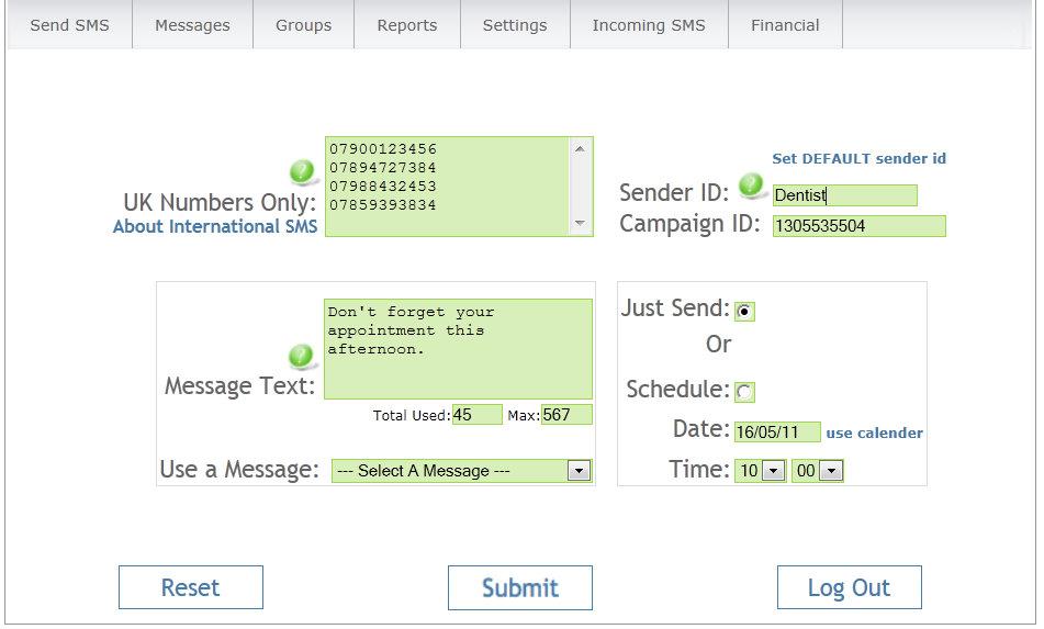 Screen capture Text Marketer