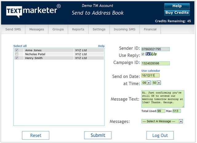 Send bulk SMS from Address Book