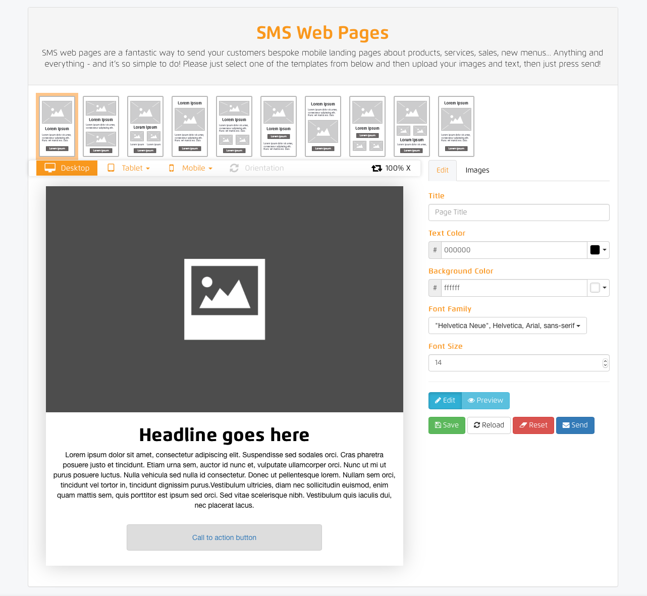 SMS Web Pages Home Screen