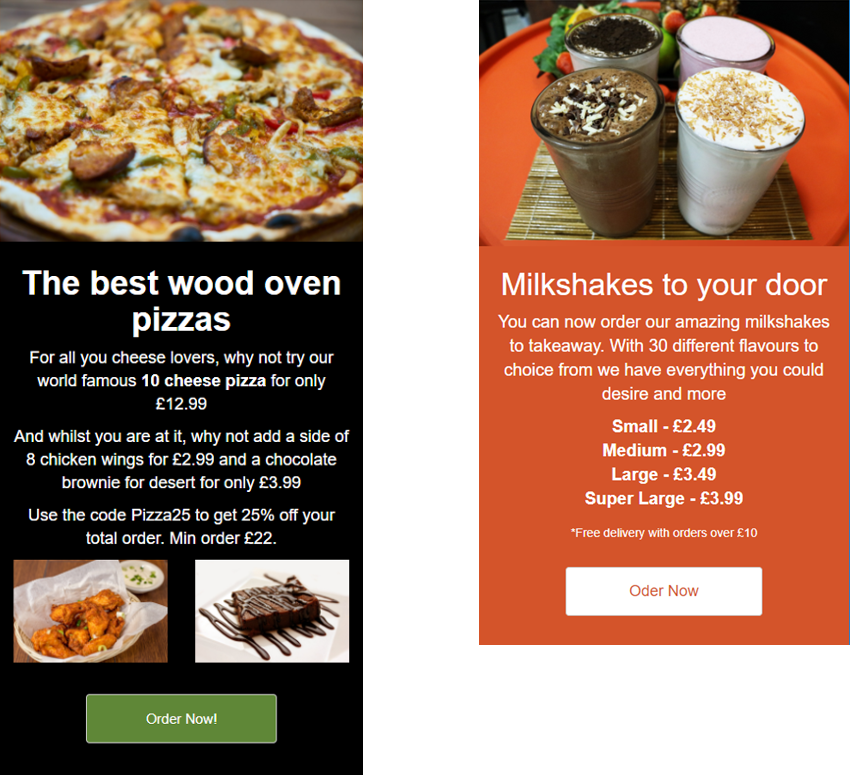 Order food SMS Web Page