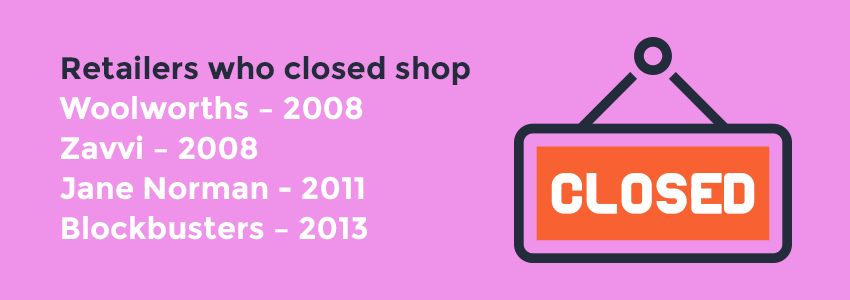 Retail shops that have closed