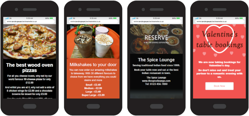 SMS Web Page example food