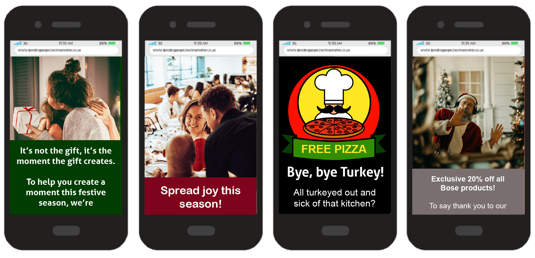Examples of SMS Web Pages for the festive season
