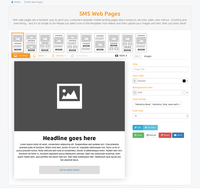 SMS Web Pages