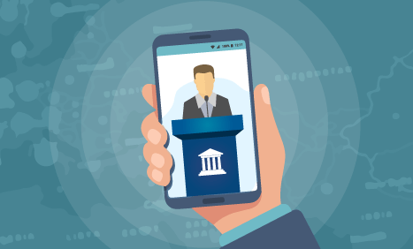 Illustration of local government official behind podium on a mobile phone screen