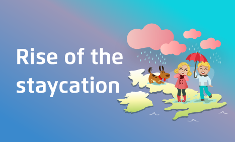 Illustration of couple on map of UK with their dog, holding an umbrella