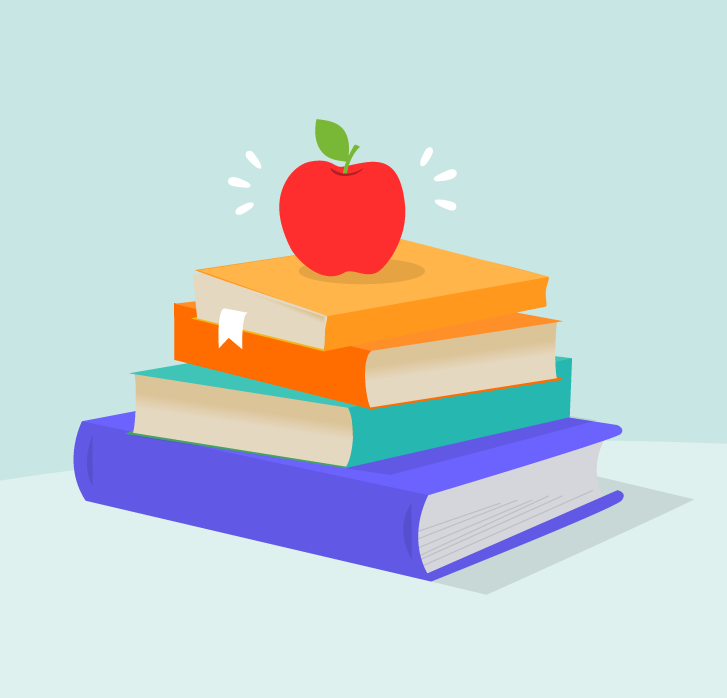 Pile of school books with an apple ontop