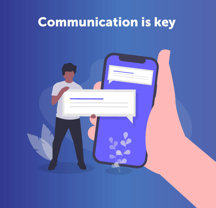 Illustration of hand holding phone, with man next to it holding an SMS bubble