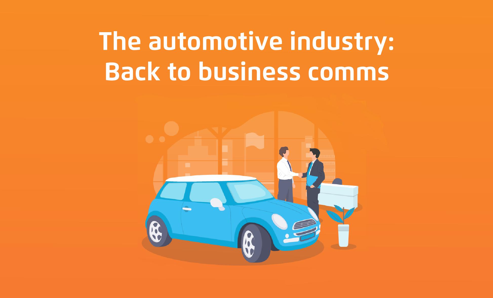 Cartoon of car salesman, customer and new car