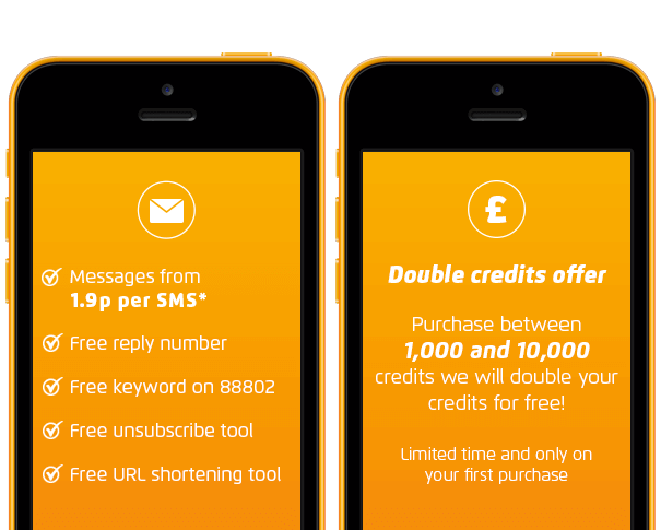 Double credits offer 1.9p SMS