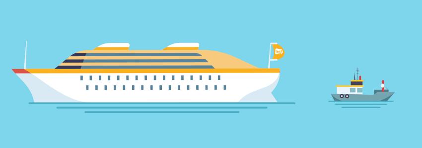 Big ship and small ship