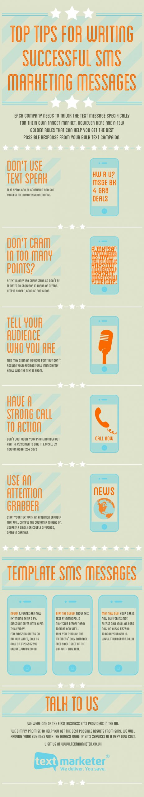 Text Marketer top tips for successful marketing messages infographic