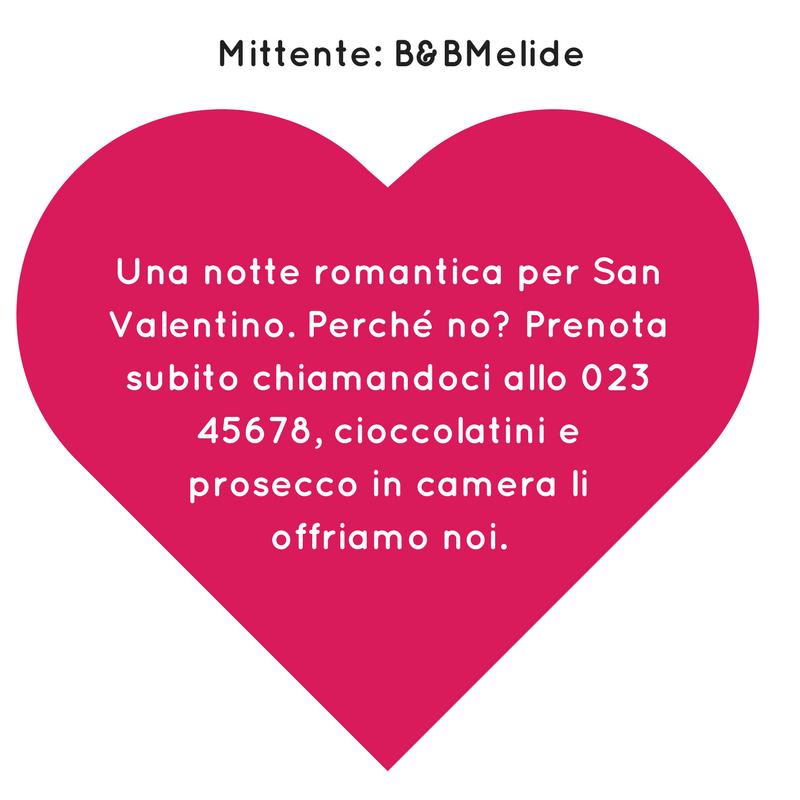 Campagna SMS di San Valentino - Esempio SMS Hotel