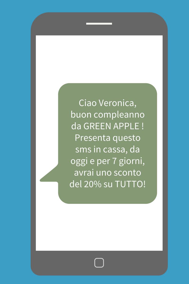 Aumentare le vendite in negozio - Esempio SMS Green Apple