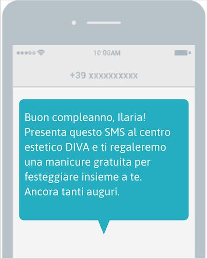 Invio SMS compleanno - Esempio testo SMS
