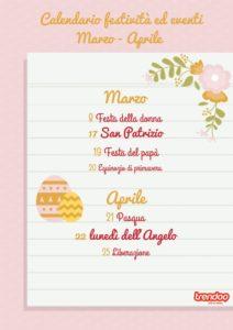 Calendario delle festività Marzo Aprile - Scegliere i giorni in cui inviare SMS a Marzo e Aprile