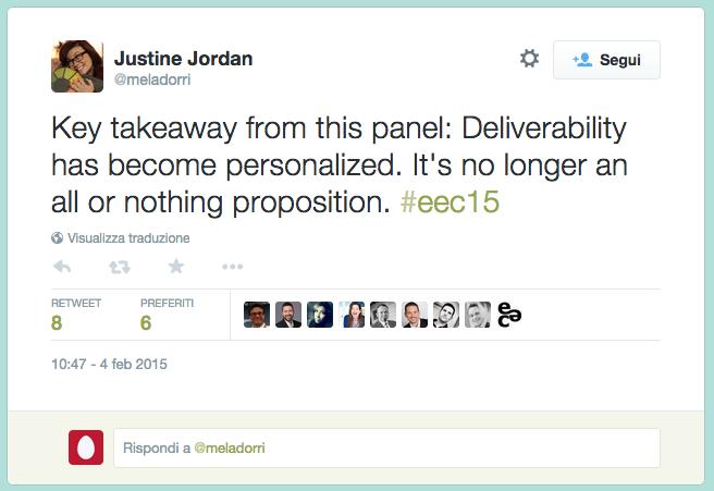 screenshot del tweet di Justine Jordan al EEC 2015
