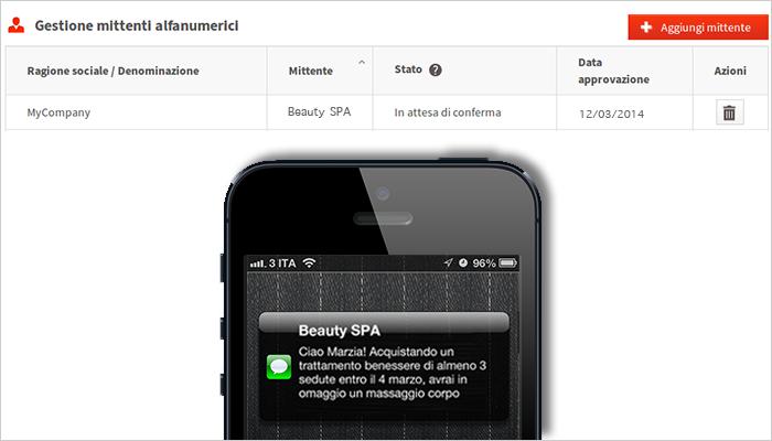 mittente SMS personalizzato - ALias AGCOM